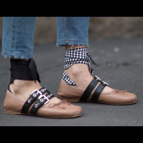 Miu Miu Laceup Leather Ballerina Ballet